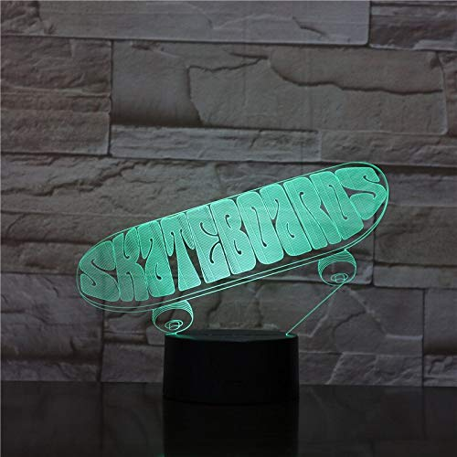 3D LED Sports Skateboard Table Lamp USB Night Light 7 Colors Change Bedroom Home Decoration Skateboarders Boy kid Gifts 1956
