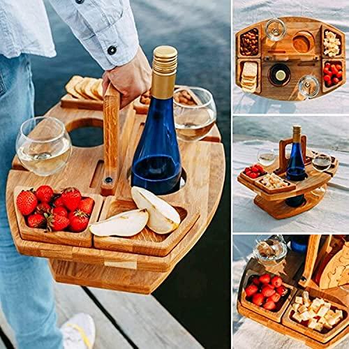 YLKCU Mesas de Picnic Creativa de Doble Capa, mesas de Comedor de Madera al Aire Libre con asa/2 Soportes para Copas de Vino/2 Soportes para Botellas de Vino/4 bandejas de Comida, Mesa de Playa