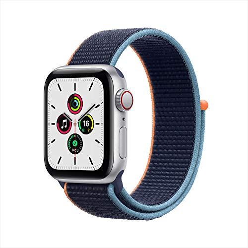 最新 Apple Watch SE(GPS + Cellularモデル)- 40mmシルバーアルミニウムケースとディープネイビースポーツループ