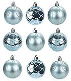 TOYLAND® Pack de 9 - Bolas 6 cm de Color Azul Hielo para árboles de Navidad - Diseño Brillante Mate y Brillo - Decoraciones navideñas