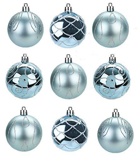 Toyland® Packung mit 9-6 cm Christbaumkugeln in Eisblau - Shiny Matte & Glitter Design - Weihnachtsdekoration