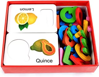 ABC Wooden Puzzle, Aolvo Letter Matching Puzzle English Learning ABC Alphabet 26 Letters Fruits Card 3D Wooden Puzzles for...