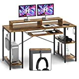 Computer Desk with Keyboard Tray, 55-inch Study Writing Desk Gaming Desk with...