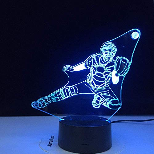 3D Night Light Baseball 3D Visual Lamp Couleurs Illusion D'Optique Tactile Table De Bureau Led Night Light Great Kids Gift Décoration De La Maison Dropshipping-With_A_Controller