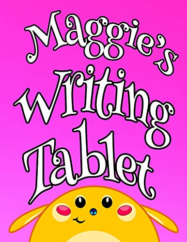 """Maggie s Writing Tablet: Personalized Book for Kids, Pink Primary Writing Tablet with 65 Sheets of Blank Lined Handwriting Practice Paper with 1"""" ... Write in Pre-k, Kindergarten or First Grade"""
