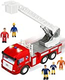 FUNERICA Toy Fire Truck with Lights and Sounds - 4 Sirens - Extending Ladder - Powerful Friction...