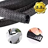 18ft Car Door Guards Protectors,Rubber Edge Trim U Shape Strip Seal Cars Metal Edges Boats Heavy Equipment (Black-5.5m)