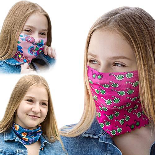 ALB Stoffe® ProtectMe - KIDS Loops Mix 7, permanent antimikrobiell, 100% Made in Germany, Ökotex® Standard 100, Mund-Nasen-Maske aus Trevira Bioactive®, waschbar, schadstofffrei, 3er Pack