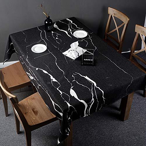 Creek Ywh Nordic Ins marmeren tafelkleed, rond, rechthoekig, bureau, salontafel, werktafel, katoen en linnen, zwart, 180 x 140 cm