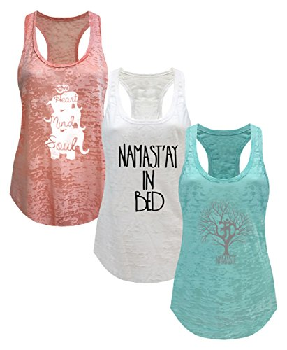 Tough Cookie's Women's Yoga Burnout Tank Top 3 Pack Deal Printed Arts (Medium - LF, White/Mint/Peach)