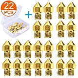 AJSPOW 22PCS 3D Printer Extruder Nozzles 0.2mm 0.3mm 0.4mm 0.5mm 0.6mm 0.8mm 1.0mm for Anet A8 Makerbot MK8 Creality CR-10 10S S4 S5 Ender 3 3Pro 5 with Free Storage Box