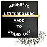 Jut Made Magnetic Letter Boards - Black Message Board with White Letters (10x10 inch, Black)