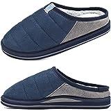 KuaiLu Zapatillas de estar en Casa Hombre Invierno Caliente Peluche Piel Cerradas Pantuflas Comoda Peludas Slippers Antideslizante Goma Suela Azul 42