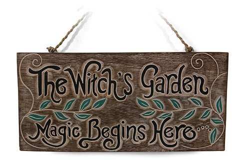 'The Witch's Garden. Magic Begins Here' Sign for Home or Garden Gift - great sign for shed