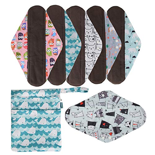 Teamoy 6Pcs 14 Inch Reusable Sanitary Pads, Cloth Menstrual Pads Washable Period Pads with Charcoal Bamboo Absorbency Layers, Fit for Heavy Flow(Cute Whale, Extra Large)
