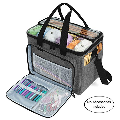 "Teamoy Knitting Bag, Yarn Tote Organizer with Inner Divider (Sewn to Bottom) for Crochet Hooks, Knitting Needles(Up to 14""), Project and Supplies -No Accessories Included, Gray"