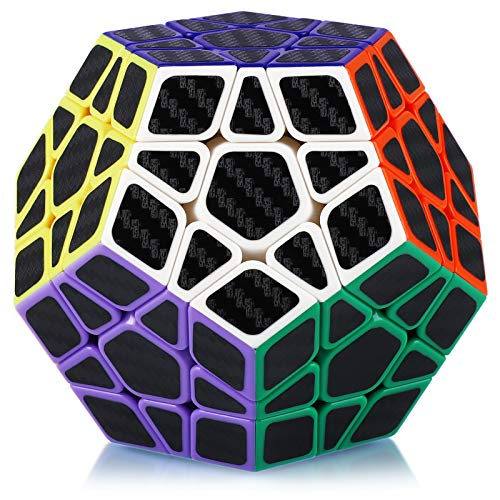 Maomaoyu Megaminx Cubo 3x3 3x3x3 Dodecaedro Profesional Puzzle Magico Cubo de la Velocidad Fibra De Carbono Negro