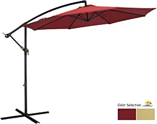 PATIO WATCHER 10ft Offset Cantilever Patio Umbrella Outdoor Market Hanging Umbrella with Crank & Cross Base for Backyard, Garden, Lawn and Pool - Red
