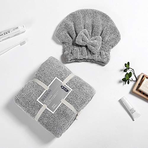 Heliansheng Toalla de baño de Microfibra para Mujer con Banda para el Cabello Albornoces Textiles para el hogar Baño -C Gray-G26