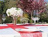 AmaCasa Vlies Tischläufer Rot 23cm/25 Meter Flower Vlies Tischband Hochzeit Kommunion - 6