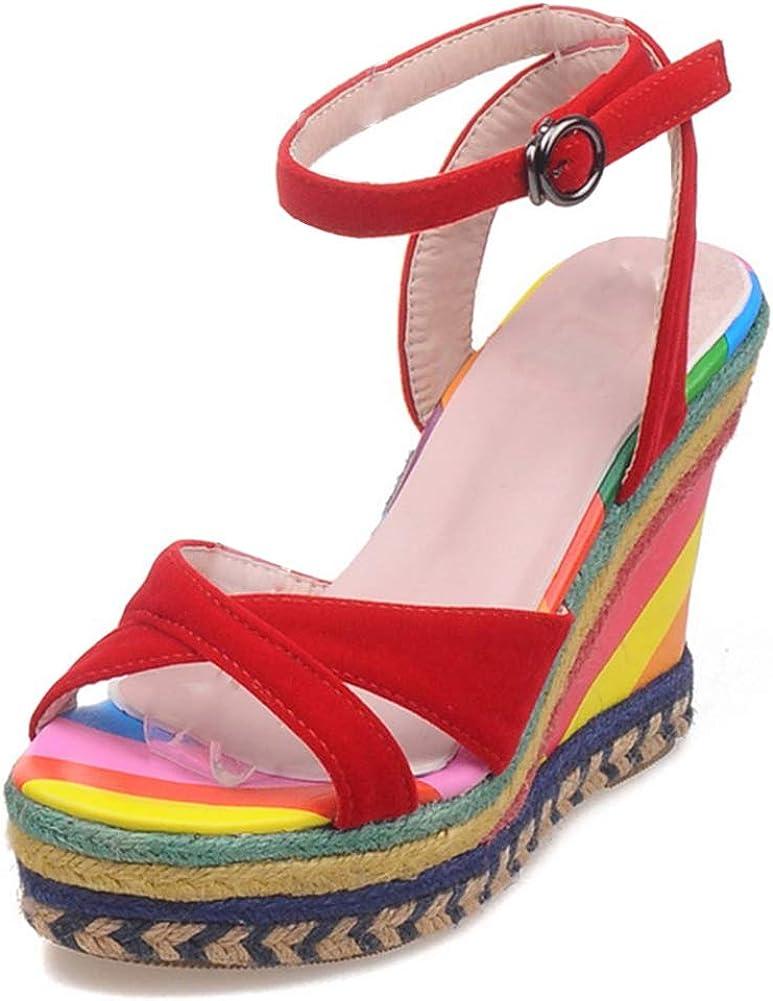heelchic Women's Espadrille Platform Wedge Sandals Ankle Strap Fashion Multi Color Heels
