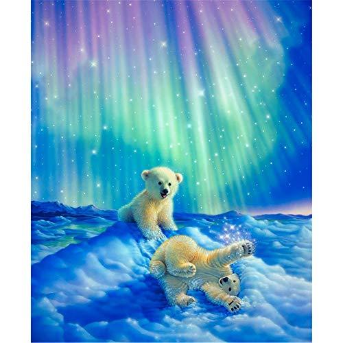 5D Pintura Diamante Painting Kit Bebé oso polar DIY Taladro Completo Adultos Niño Punto Cruz Cuadro Grande Puzzle Rhinestone Bordado Art Home Pared De 50x60cm