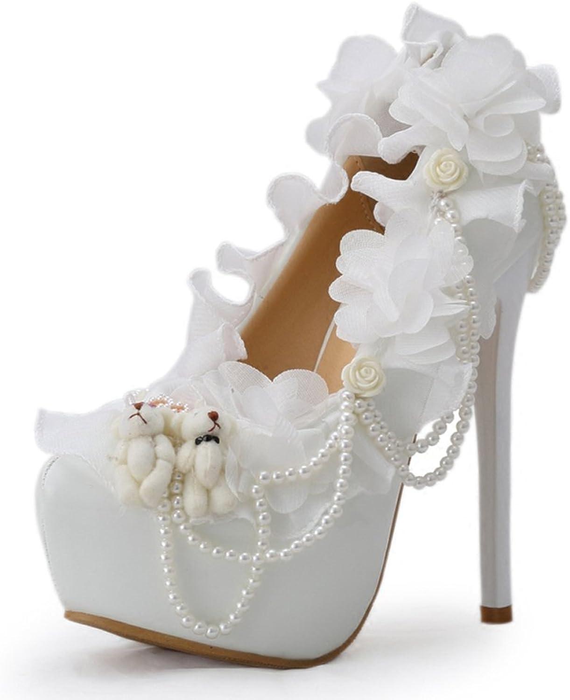 damen Es High Heels PU Lace Sexy Flachen Mund Spitze Stiletto Heels Sandalen Brautjungfer Schuhe Braut Hochzeit Schuhe Perlen Brautschuhe Pumps Weiß Heel High 14 cm