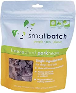 smallbatch Pets Premium Freeze-Dried Pork Heart Treats for Dogs and Cats, 3.5 oz, Made and Sourced in The USA, Single Ingredient, Humanely Raise Meat, No Preservatives or Anything Artificial Ever