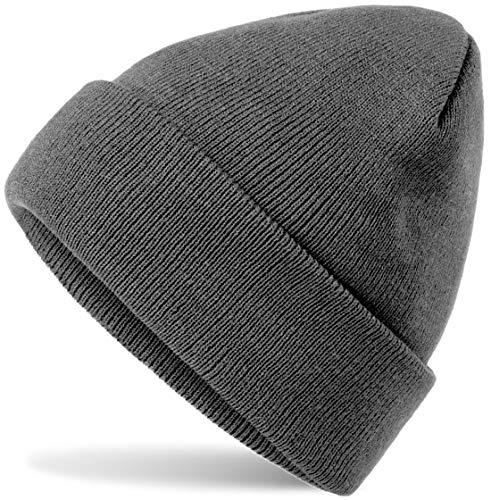 Hatsatar Unisex warme Beanie Strickmütze | Wintermütze für Damen & Herren | Feinstrick Mütze doppelt gestrickt | warm & weich (Antique Grey)