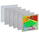 EKIND 6 PCS Self Adhesive Classic Building Brick Plate 10' x 10' Compatible for Building Brickyard Blocks All Major Brands (Gray)