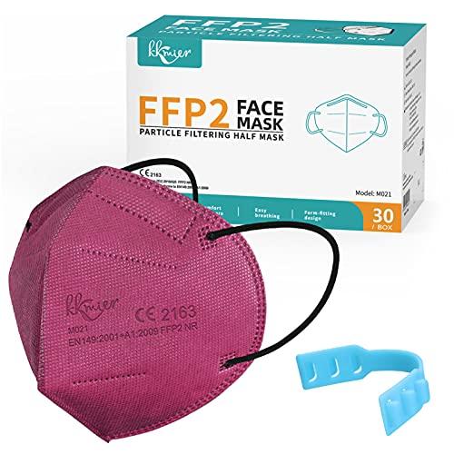 KKmier FFP2 Maske Mundschutzmasken 5 Lage Filterschutz Einweg-Atemschutzmasken Einzel Verpakt 30 Stück Rot
