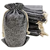 50 Gray Burlap Bags with Drawstring, 5x8 Inch (5x7 Internal) Gift Bag Bulk Pack - Wedding Party Favors, Jewelry and Treat Pouches (Gray)