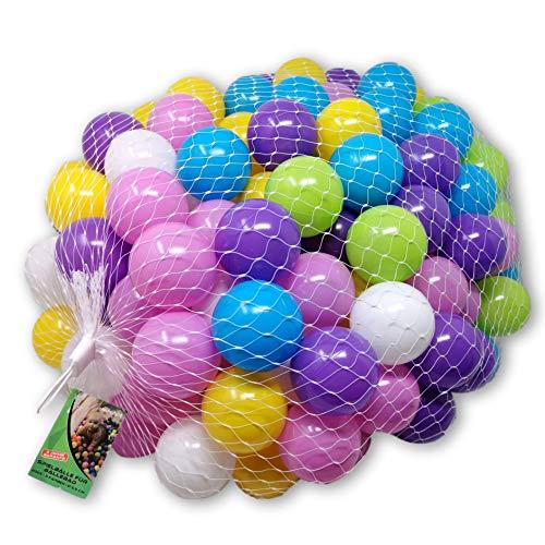 EKNA Palline da gioco Ø 5 cm, 200 pezzi, colori assortiti per la piscina per la piscina, palline in plastica, colori verde chiaro, azzurro, giallo, rosa, bianco, lilla