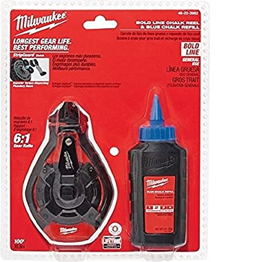 Milwaukee 48-22-3982 100 Ft. Bold Line Chalk Reel w/ Strip Guard Gearbox and 6:1 Gear Retraction Ratio (3 Oz. of Blue Chalk Included)