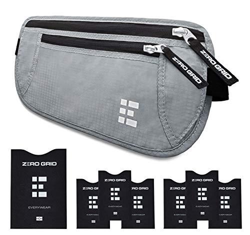 Cinturón de Viaje para Dinero con Bloqueo RFID - Cartera para Documentos y Portapasaporte (Ash)