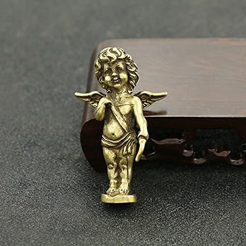 HaiFiy Nostalgia Cobre Cupido Figura Mini latón casero Escritorio Decoraciones sólido Cobre Amor Dios mininature Ornaments Pareja Aniversario Regalos Regalo Sorpresa (Color : Cupid)