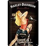 Nostalgic-Art Retro Blechschild, Harley-Davidson – Biker Babe – Geschenk-Idee für Motorrad-Fans, aus Metall, Vintage-Design zur Dekoration, 20 x 30 cm