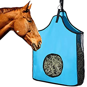 Horse Hay Bag Large Sturdy Horse Feeding Hay Bag Horse Feeder Tote Bag with Metal Rings for Horse Sheep Cow 600D Nylon  Blue