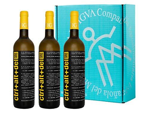 Ctrl+Alt+Del Blanco Semi-dulce - Vino Joven de la Tierra de Castilla - La Mancha - Estuche de 3 Botellas x 750 ml
