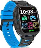 Kids Smart Watch for Boys Girls- Kids Smartwatch with Call 2 Cameras 15 Games Video Recorder Music Alarm Flashlight 12/24 hr, Touch Screen Smart Watch for Kids Age 3-14 (Blue)