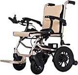 AGWa Cajolg ligero plegable Silla de ruedas eléctrica, 360 ° Joystick de litio de transporte de energía de la batería Silla de ruedas, sillas de ruedas eléctricas para los adultos mayores, Andador Wa