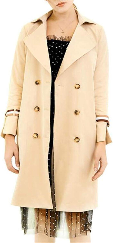 VOGMEM Women DoubleBreasted Windbreaker Jacket Lapel Trench Coat