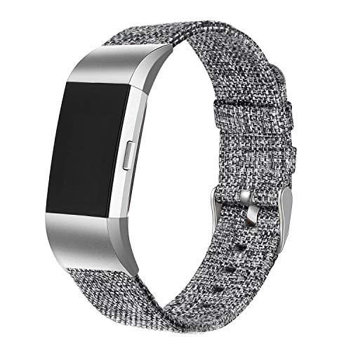 bayite Canvas Bands Compatible with Fitbit Charge 2, Soft Classic Replacement Wristband Straps Women Men, Charcoal Large (6.7-8.1 Inch)