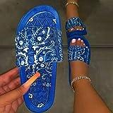CCJW Zapatos de casa de secado rápido con puntera abierta, sandalias de playa de raso flores-azul_35, cuña baja deslizarse en el dedo del pie sandalias kshu