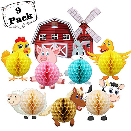Animals Farm Honeycomb Ball Indoor Outdoor Decorations Table Centerpiece Barn Party Supplies for Baby Shower Kids Farm Theme Birthday Party Room Home Wall Decorations
