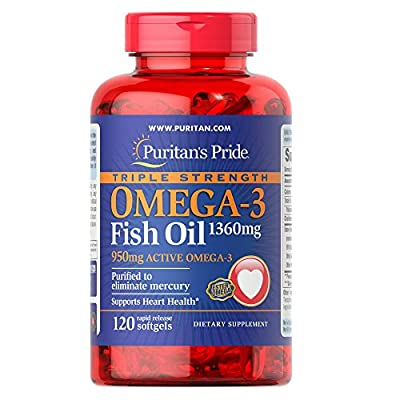 Puritans Pride Triple Strength Omega-3 Fish Oil 1360 Mg (950 Mg Active Omega-3), 120 Count