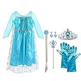 Vicloon Elsa Frozen Costume, Set da Principessa Elsa Corona Bacchetta Guanti Treccia,Ragaz...
