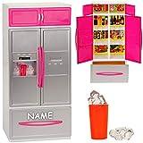 großer Kühlschrank mit Eiswürfelspender / Gefrierschrank - 31 cm - inkl. Name - für Puppenhaus -...