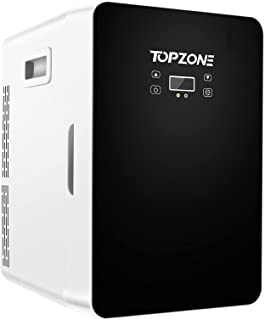 TOPZONE Mini Fridge 20 liter Portable AC/DC Powered Thermoelectric Cooler & Warmer with Temperature Control Panel for Cars, Homes, Offices, and Bedroom