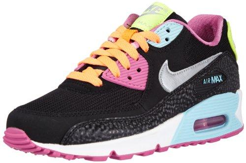 Nike Air Max 90 2007 (Gs) 345017 Mädchen Laufschuhe, Schwarz (Black/Metalllic Silver/Red Violet/Glacier Ice), 36